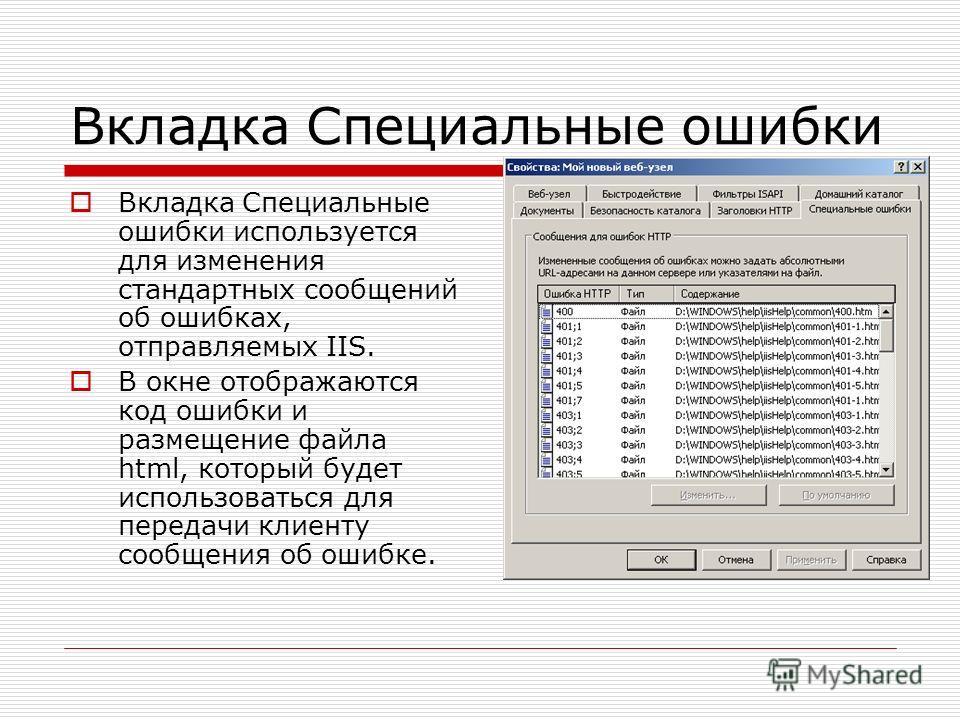 Вкладка Специальные ошибки Вкладка Специальные ошибки используется для изменения стандартных сообщений об ошибках, отправляемых IIS. В окне отображаются код ошибки и размещение файла html, который будет использоваться для передачи клиенту сообщения о