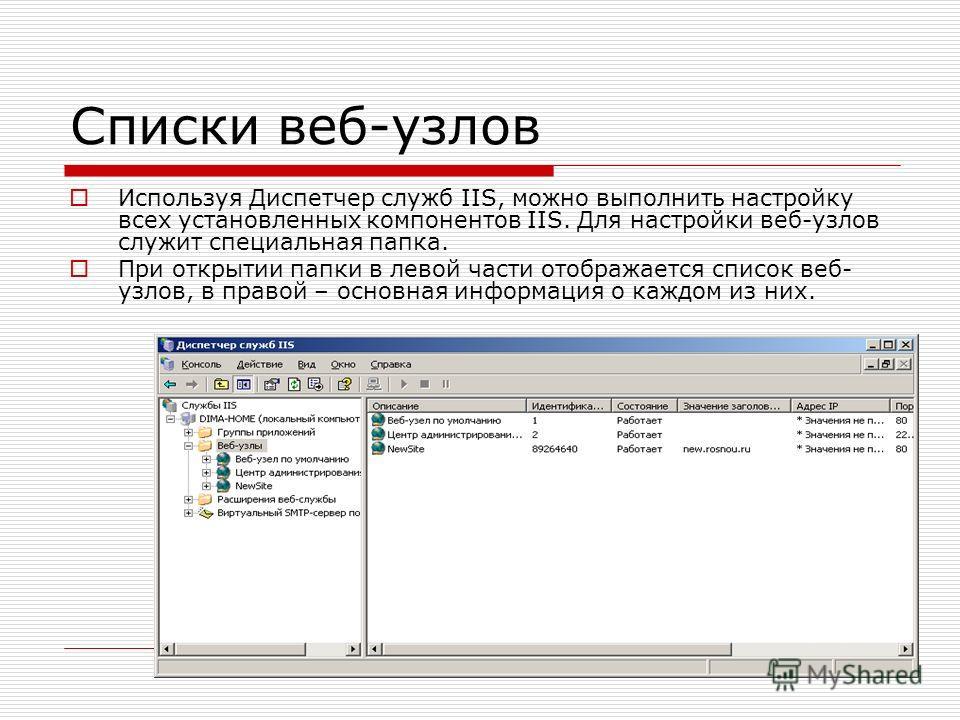Списки веб-узлов Используя Диспетчер служб IIS, можно выполнить настройку всех установленных компонентов IIS. Для настройки веб-узлов служит специальная папка. При открытии папки в левой части отображается список веб- узлов, в правой – основная инфор