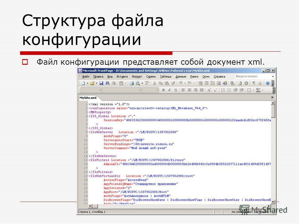 Структура файла конфигурации Файл конфигурации представляет собой документ xml.