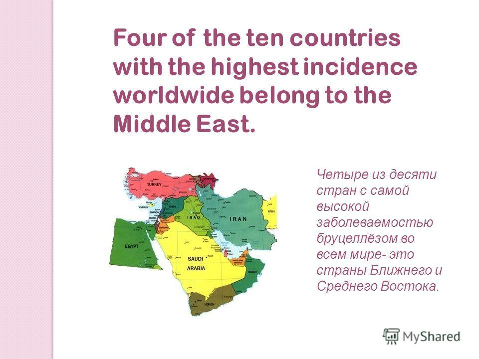 Four of the ten countries with the highest incidence worldwide belong to the Middle East. Четыре из десяти стран с самой высокой заболеваемостью бруцеллёзом во всем мире- это страны Ближнего и Среднего Востока.