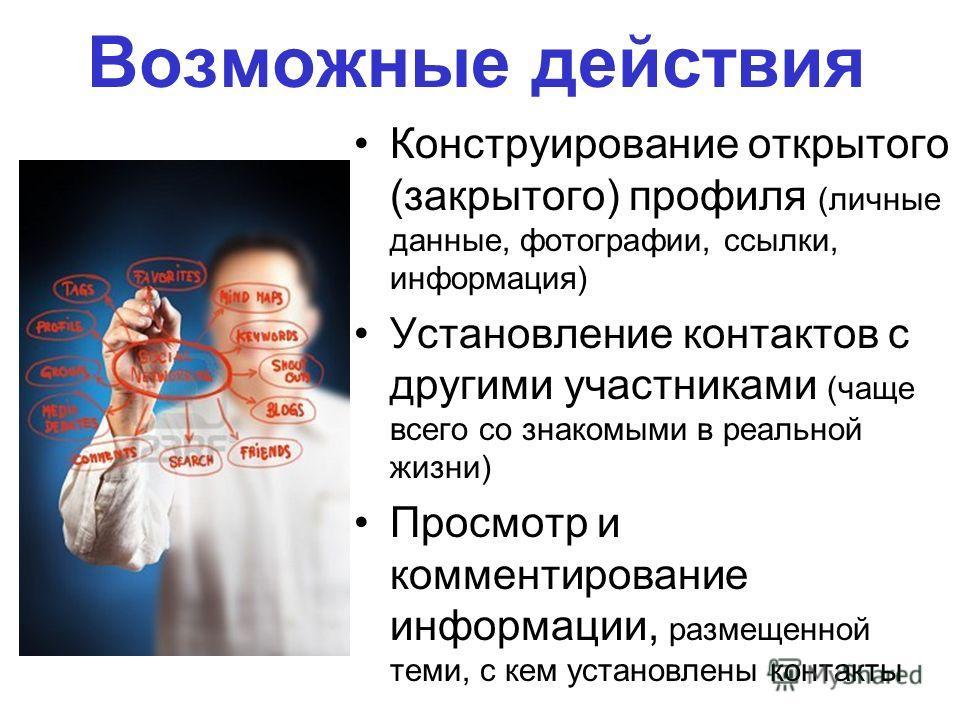 Возможные действия Конструирование открытого (закрытого) профиля (личные данные, фотографии, ссылки, информация) Установление контактов с другими участниками (чаще всего со знакомыми в реальной жизни) Просмотр и комментирование информации, размещенно
