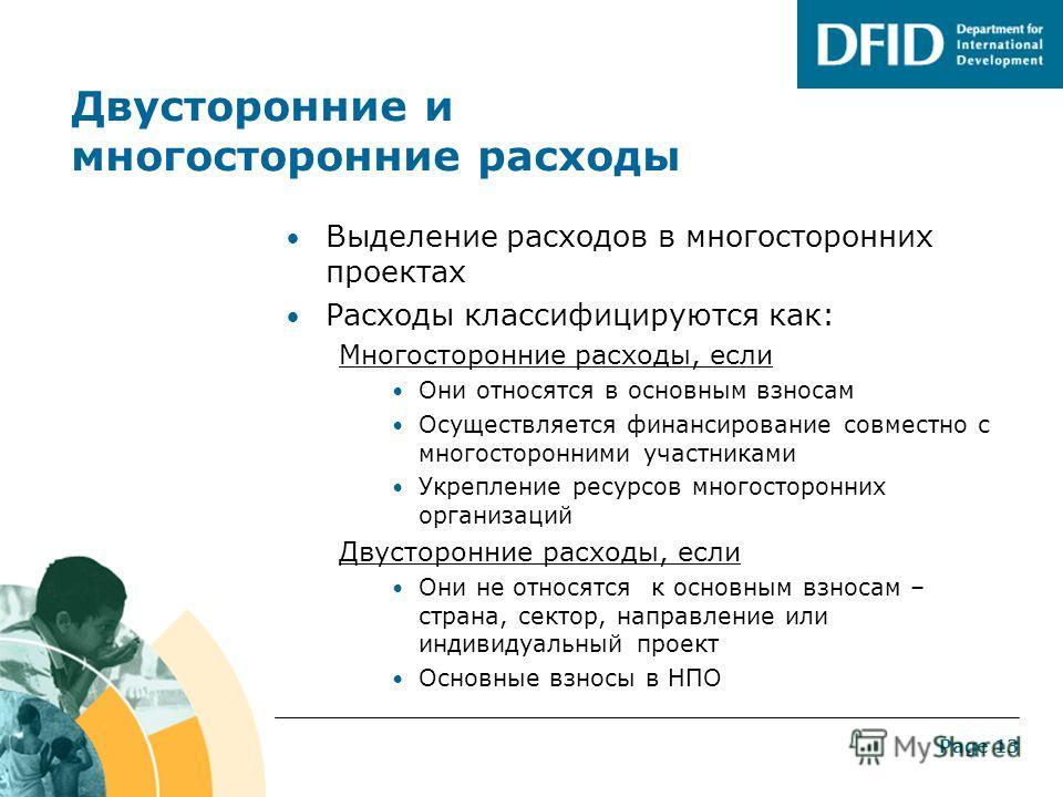 Page 12 Система сбора данных в DFID Одна база данных Сбор всей информации о проектах (цели, реализация и оценка результатов) Используется для подготовки статистических данных о международном развитии и отчетности для DAC Введение данных о руководител