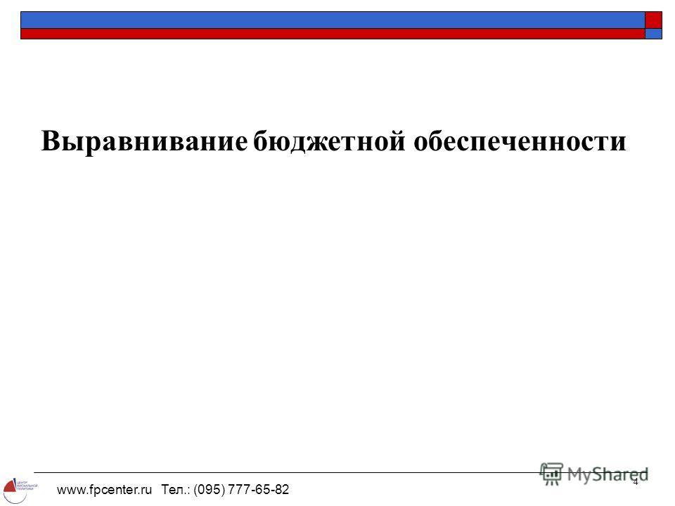 www.fpcenter.ru Тел.: (095) 777-65-82 4 Выравнивание бюджетной обеспеченности