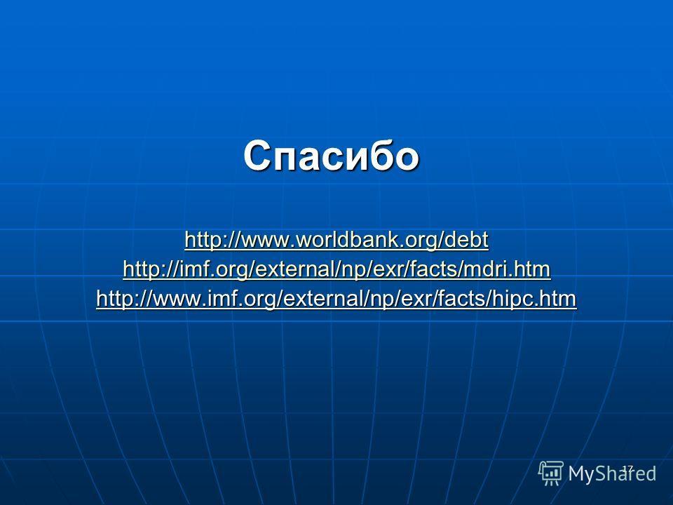 17 Спасибо http://www.worldbank.org/debt http://imf.org/external/np/exr/facts/mdri.htm http://www.imf.org/external/np/exr/facts/hipc.htm