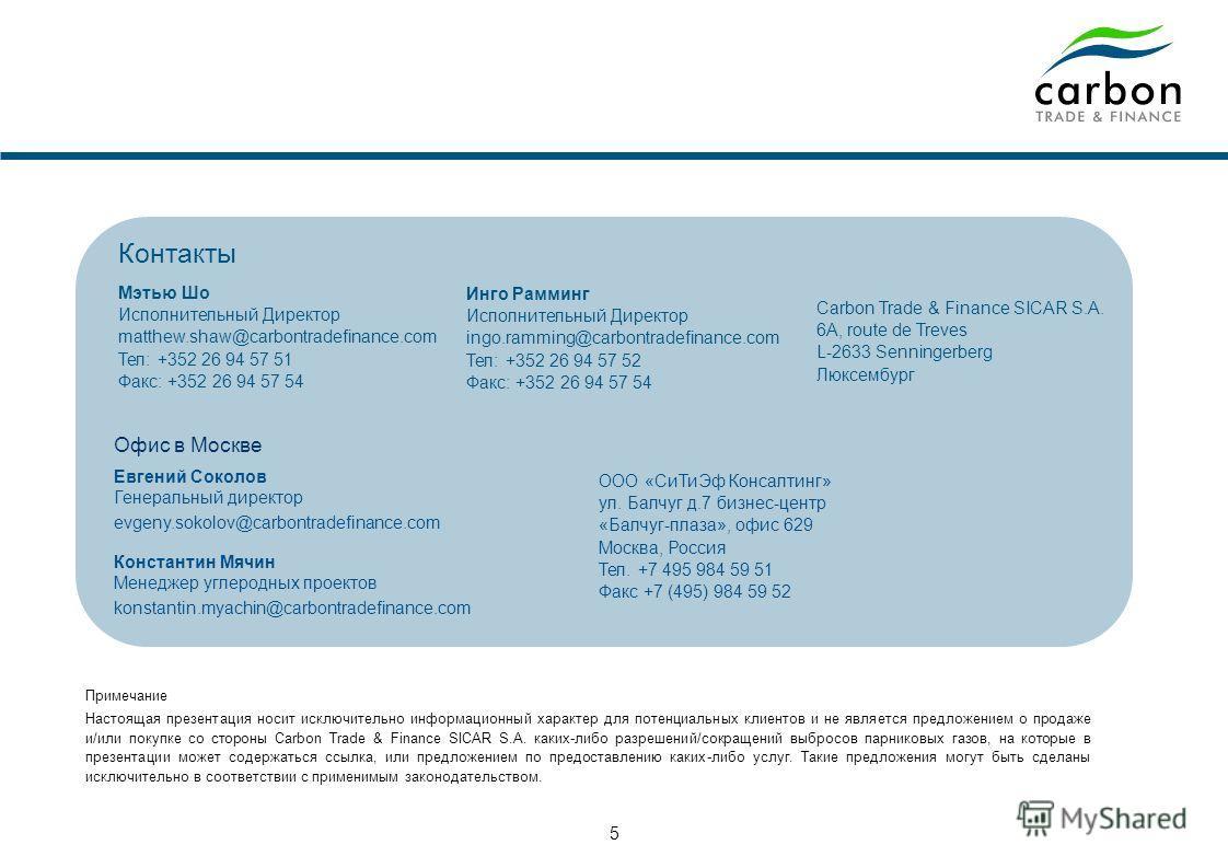 Компания Carbon Trade & Finance (CTF) - совместное предприятие Газпромбанка и Дрезднер Банка Приобретение Единиц Сокращенных Выбросов (ЕСВ) по фиксированной и/или плавающей цене + возможность авансового платежа Полный цикл по подготовке и сопровожден