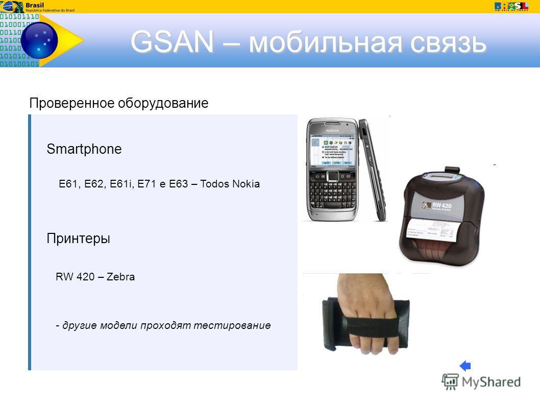 GSAN – мобильная связь Smartphone E61, E62, E61i, E71 e E63 – Todos Nokia Принтеры RW 420 – Zebra - другие модели проходят тестирование Проверенное оборудование