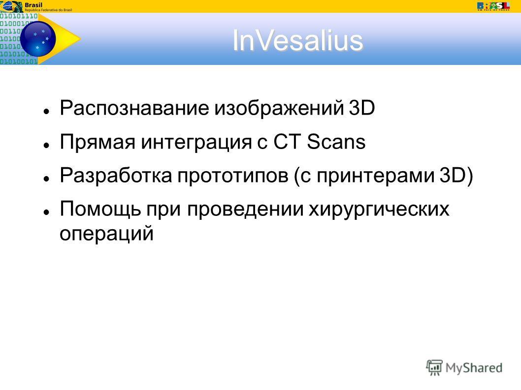 InVesalius Распознавание изображений 3D Прямая интеграция с CT Scans Разработка прототипов (с принтерами 3D) Помощь при проведении хирургических операций