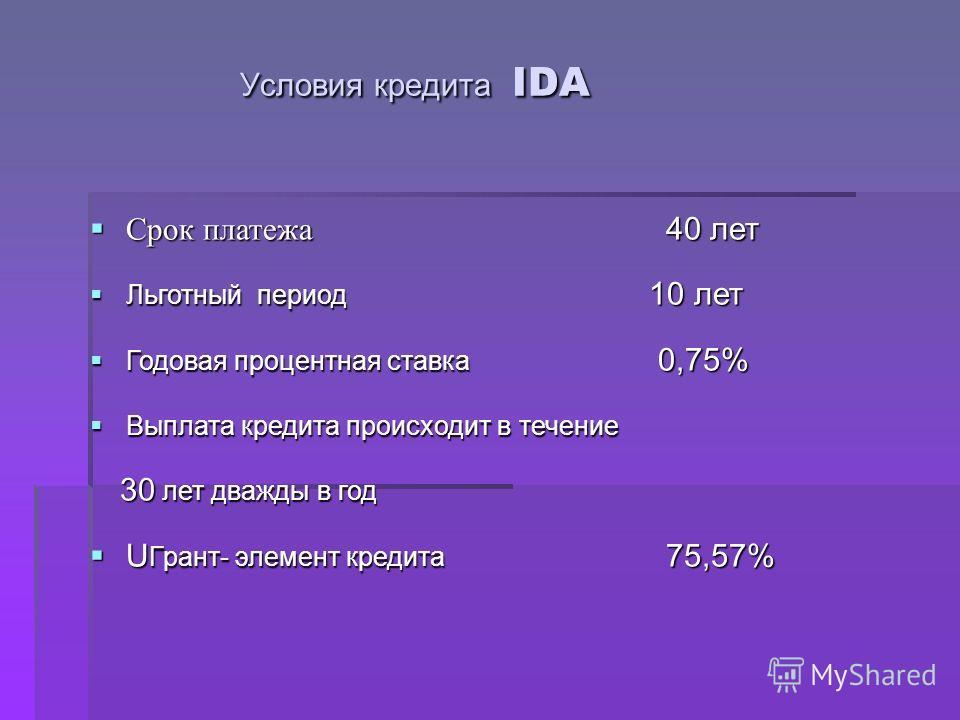 Условия кредита IDA Условия кредита IDA Срок платежа 40 лет Срок платежа 40 лет Льготный период 10 лет Льготный период 10 лет Годовая процентная ставка 0,75% Годовая процентная ставка 0,75% Выплата кредита происходит в течение Выплата кредита происхо