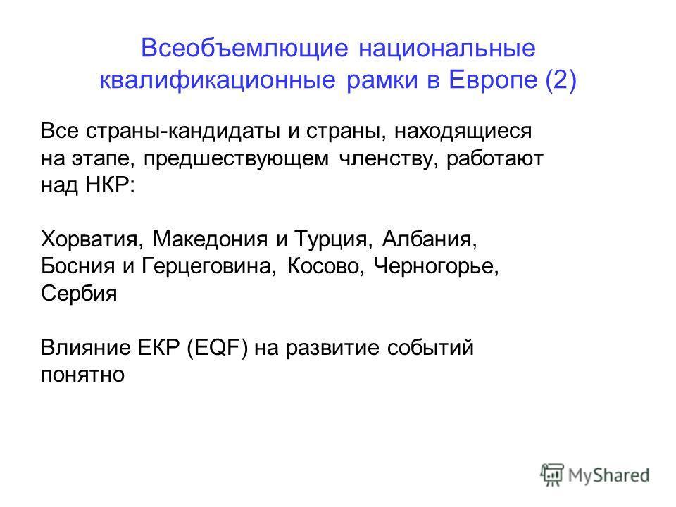 Всеобъемлющие национальные квалификационные рамки в Европе (2) Все страны-кандидаты и страны, находящиеся на этапе, предшествующем членству, работают над НКР: Хорватия, Македония и Турция, Албания, Босния и Герцеговина, Косово, Черногорье, Сербия Вли