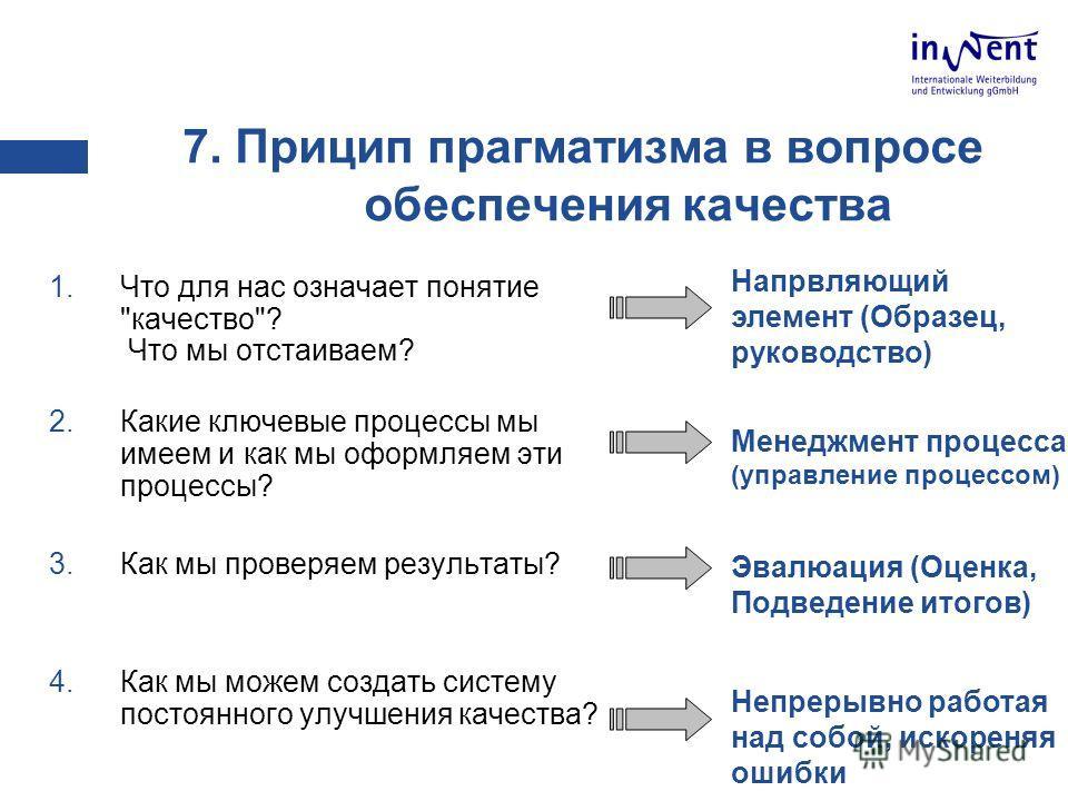7. Прицип прагматизма в вопросе обеспечения качества 1.Что для нас означает понятие