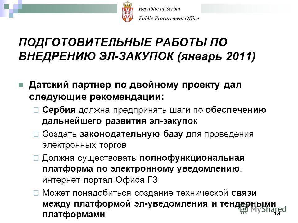 ПОДГОТОВИТЕЛЬНЫЕ РАБОТЫ ПО ВНЕДРЕНИЮ ЭЛ-ЗАКУПОК (январь 2011) Датский партнер по двойному проекту дал следующие рекомендации: Сербия должна предпринять шаги по обеспечению дальнейшего развития эл-закупок Создать законодательную базу для проведения эл