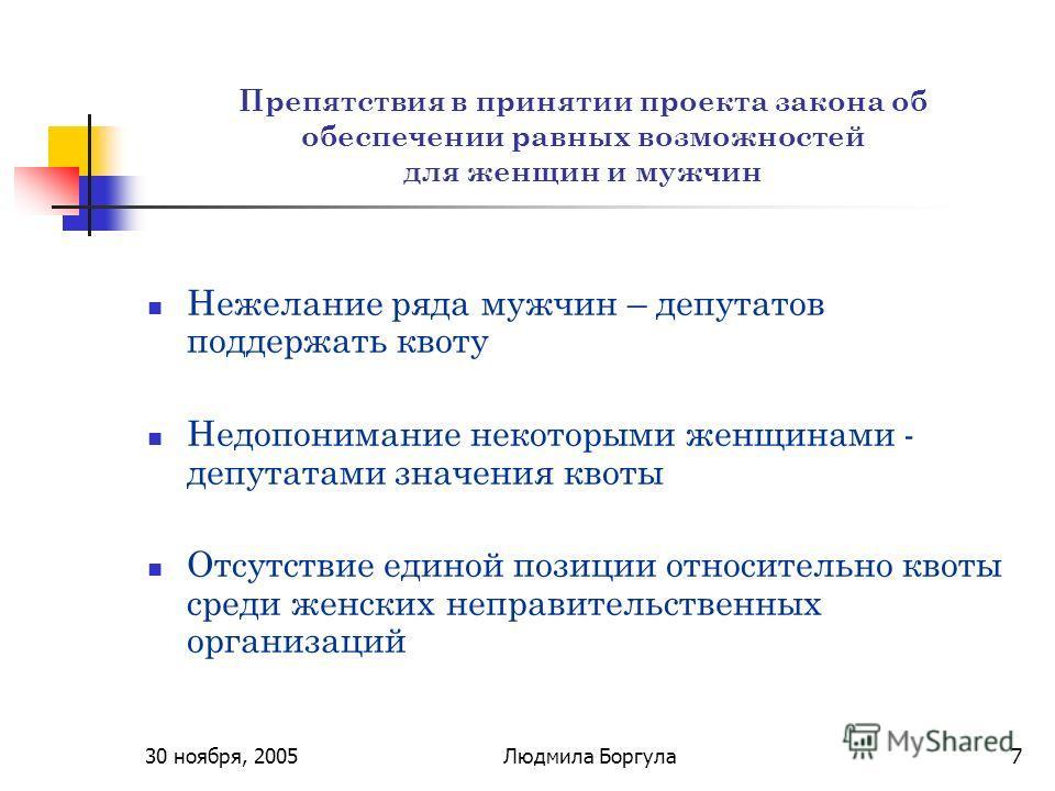 30 ноября, 2005Людмила Боргула7 Препятствия в принятии проекта закона об обеспечении равных возможностей для женщин и мужчин Нежелание ряда мужчин – депутатов поддержать квоту Недопонимание некоторыми женщинами - депутатами значения квоты Отсутствие