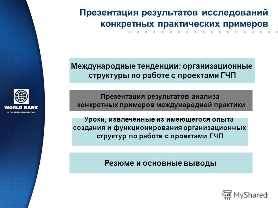 8 Презентация результатов исследований конкретных практических примеров Международные тенденции: организационные структуры по работе с проектами ГЧП Презентация результатов анализа конкретных примеров международной практики Уроки, извлеченные из имею