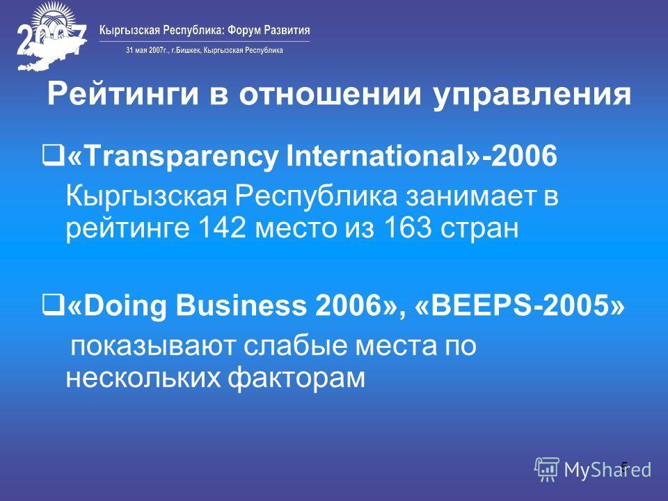 5 Рейтинги в отношении управления «Transparency International»-2006 Кыргызская Республика занимает в рейтинге 142 место из 163 стран «Doing Business 2006», «BEEPS-2005» показывают слабые места по нескольких факторам