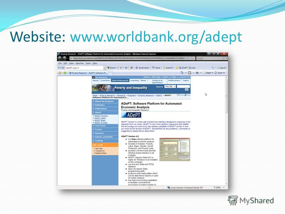 Website: www.worldbank.org/adept