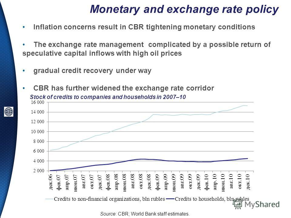 Monetary and exchange rate policy Inflation concerns result in CBR tightening monetary conditions The exchange rate management complicated by a possible return of speculative capital inflows with high oil prices gradual credit recovery under way CBR