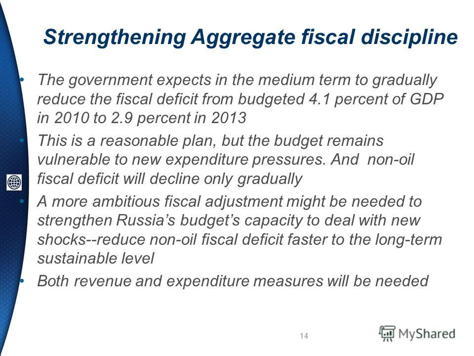 Strengthening Aggregate fiscal discipline The government expects in the medium term to gradually reduce the fiscal deficit from budgeted 4.1 percent of GDP in 2010 to 2.9 percent in 2013 This is a reasonable plan, but the budget remains vulnerable to
