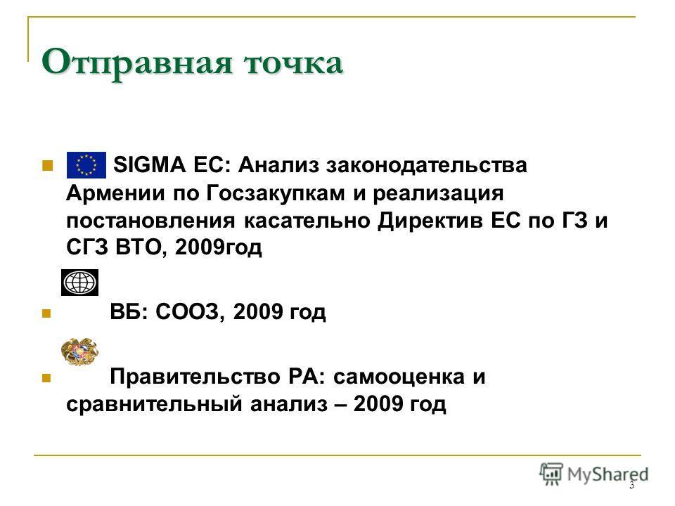 3 Отправная точка SIGMA ЕС: Анализ законодательства Армении по Госзакупкам и реализация постановления касательно Директив ЕС по ГЗ и СГЗ ВТО, 2009год ВБ: СООЗ, 2009 год Правительство РА: самооценка и сравнительный анализ – 2009 год