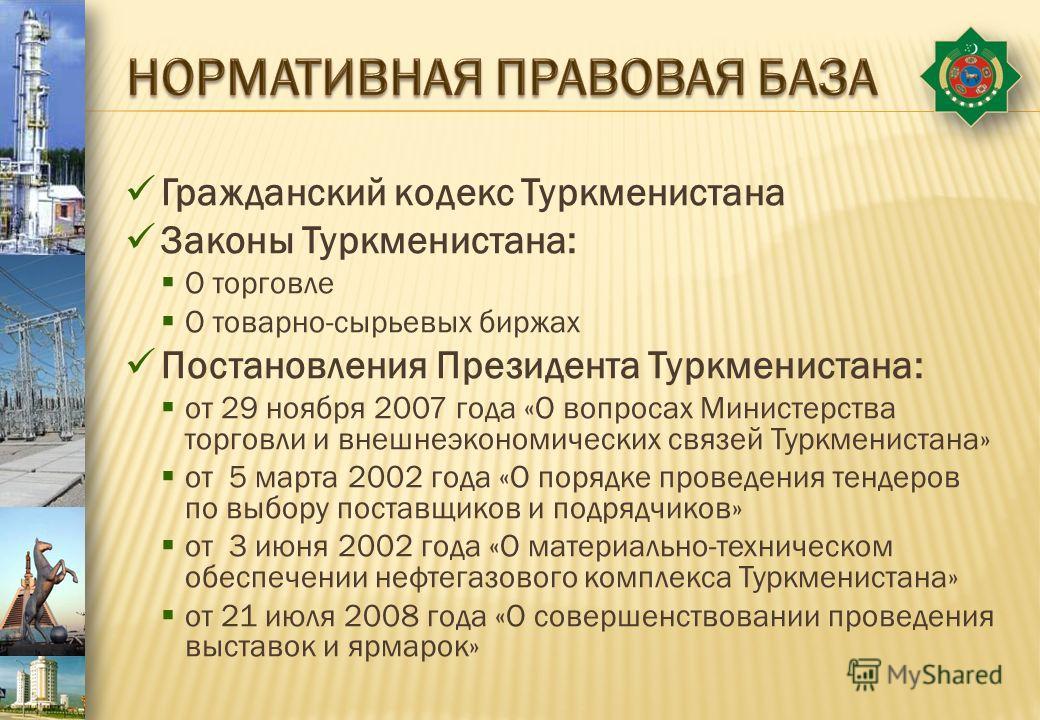 Гражданский кодекс Туркменистана Законы Туркменистана: О торговле О товарно-сырьевых биржах Постановления Президента Туркменистана: от 29 ноября 2007 года «О вопросах Министерства торговли и внешнеэкономических связей Туркменистана» от 5 марта 2002 г