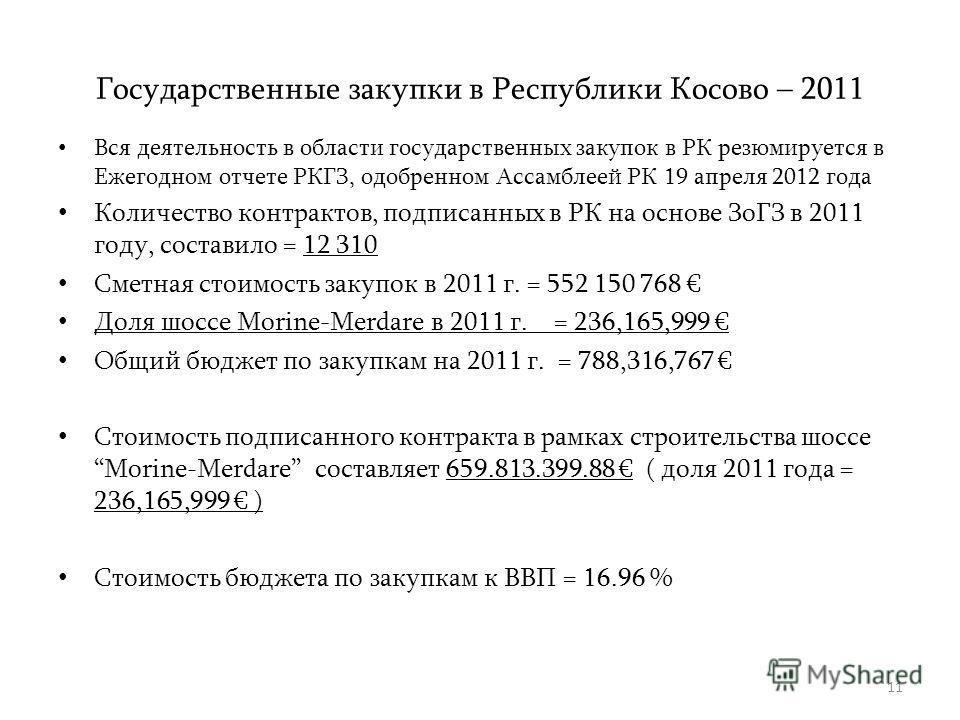 11 Государственные закупки в Республики Косово – 2011 Вся деятельность в области государственных закупок в РК резюмируется в Ежегодном отчете РКГЗ, одобренном Ассамблеей РК 19 апреля 2012 года Количество контрактов, подписанных в РК на основе ЗоГЗ в