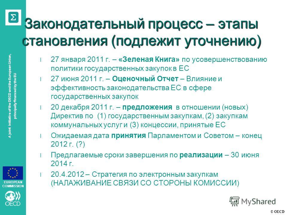 © OECD A joint initiative of the OECD and the European Union, principally financed by the EU EUROPEAN COMMISSION Законодательный процесс – этапы становления (подлежит уточнению) l 27 января 2011 г. – «Зеленая Книга» по усовершенствованию политики гос