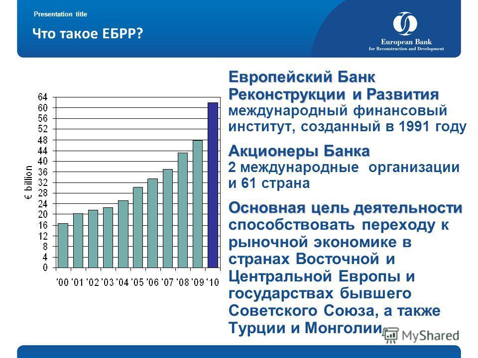 Presentation title Что такое ЕБРР? Европейский Банк Реконструкции и Развития Европейский Банк Реконструкции и Развития международный финансовый институт, созданный в 1991 году Акционеры Банка Акционеры Банка 2 международные организации и 61 страна Ос