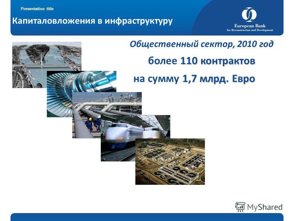 Presentation title Капиталовложения в инфраструктуру Общественный сектор, 2010 год 110 контрактов более 110 контрактов 1,7млрд. Евро на сумму 1,7 млрд. Евро