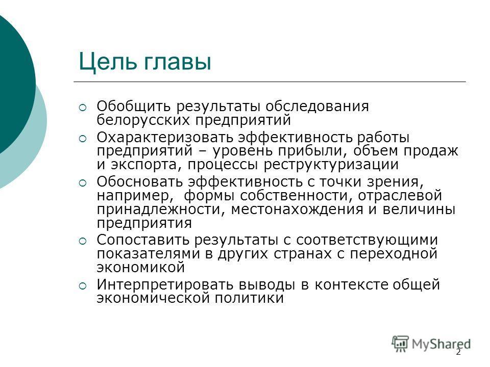 2 Цель главы Обобщить результаты обследования белорусских предприятий Охарактеризовать эффективность работы предприятий – уровень прибыли, объем продаж и экспорта, процессы реструктуризации Обосновать эффективность с точки зрения, например, формы соб