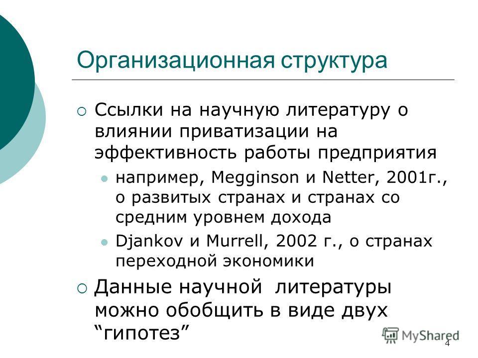 4 Организационная структура Ссылки на научную литературу о влиянии приватизации на эффективность работы предприятия например, Megginson и Netter, 2001г., о развитых странах и странах со средним уровнем дохода Djankov и Murrell, 2002 г., о странах пер