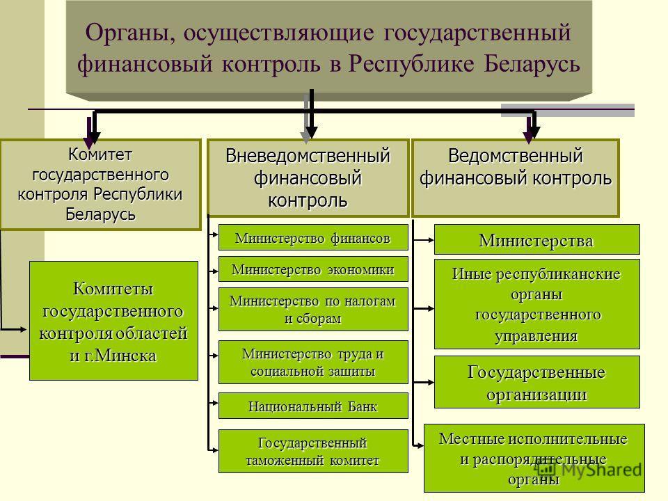 Органы, осуществляющие государственный финансовый контроль в Республике Беларусь Вневедомственный финансовый контроль Комитет государственного контроля Республики Беларусь Ведомственный финансовый контроль Комитеты государственного контроля областей