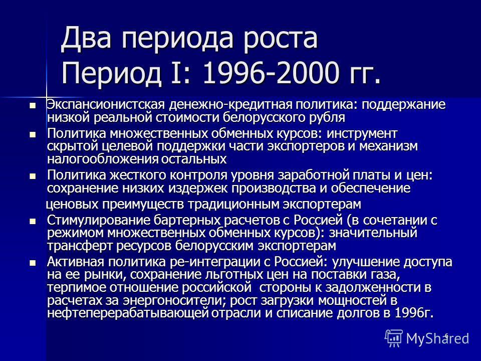 6 Два периода роста Период I: 1996-2000 гг. Экспансионистская денежно-кредитная политика: поддержание низкой реальной стоимости белорусского рубля Экспансионистская денежно-кредитная политика: поддержание низкой реальной стоимости белорусского рубля