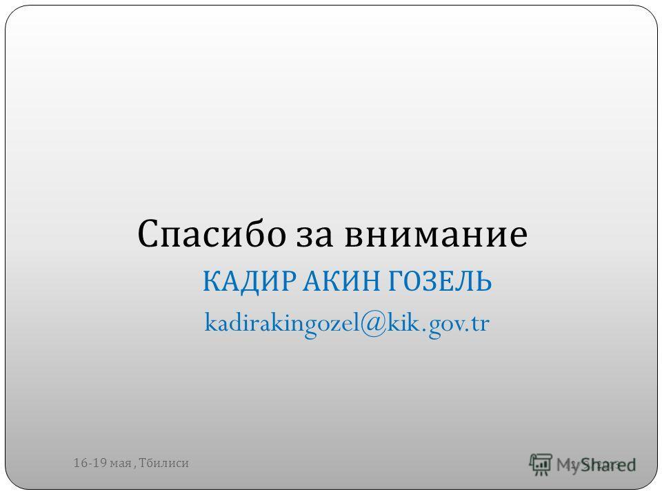 12/9/2013 16-19 мая, Тбилиси Спасибо за внимание КАДИР АКИН ГОЗЕЛЬ kadirakingozel@kik.gov.tr