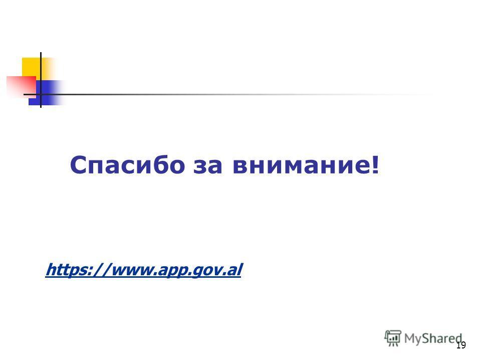Спасибо за внимание! https://www.app.gov.al 19