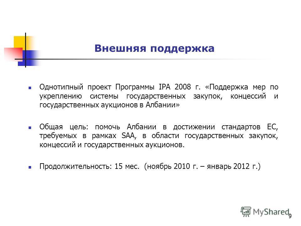 Внешняя поддержка Однотипный проект Программы IPA 2008 г. «Поддержка мер по укреплению системы государственных закупок, концессий и государственных аукционов в Албании» Общая цель: помочь Албании в достижении стандартов ЕС, требуемых в рамках SAA, в