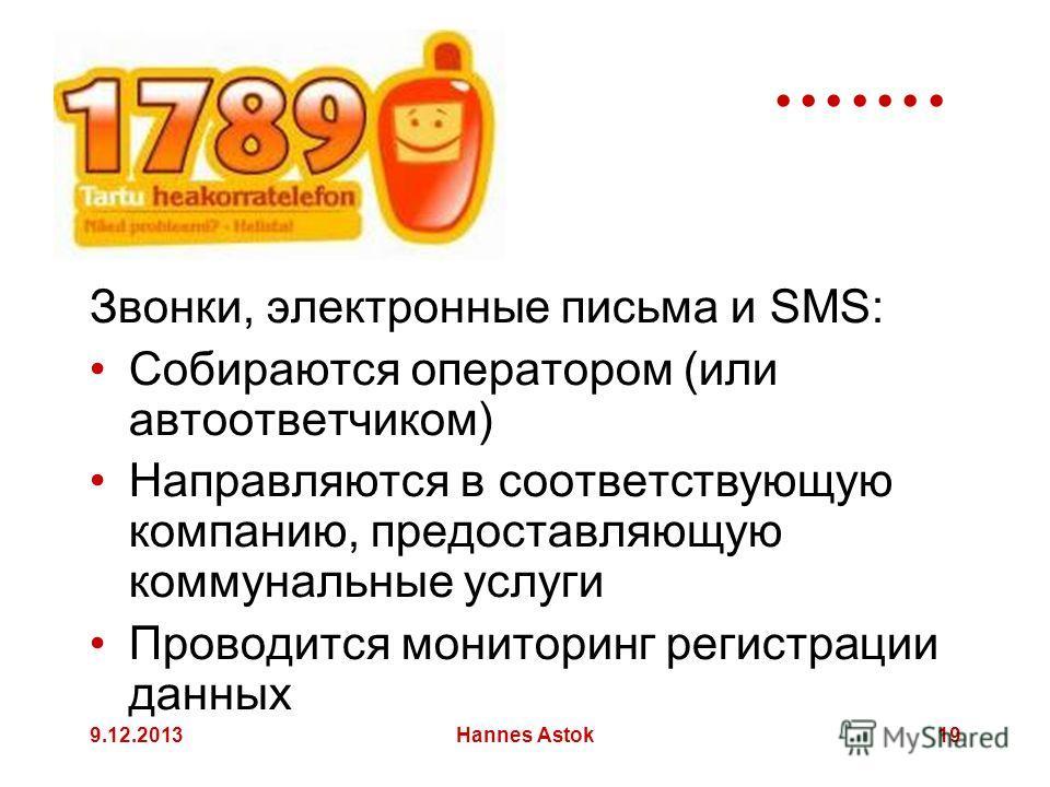 9.12.2013Hannes Astok19 Звонки, электронные письма и SMS: Собираются оператором (или автоответчиком) Направляются в соответствующую компанию, предоставляющую коммунальные услуги Проводится мониторинг регистрации данных