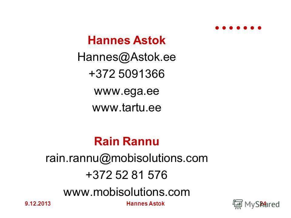 9.12.2013Hannes Astok24 Hannes Astok Hannes@Astok.ee +372 5091366 www.ega.ee www.tartu.ee Rain Rannu rain.rannu@mobisolutions.com +372 52 81 576 www.mobisolutions.com