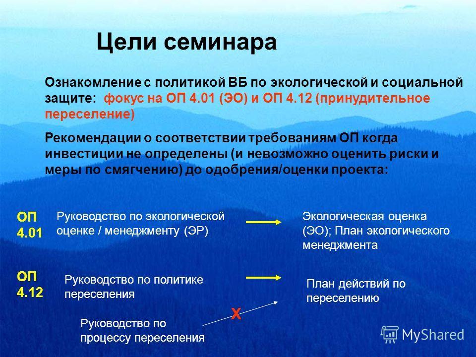 Цели семинара Ознакомление с политикой ВБ по экологической и социальной защите: фокус на OП 4.01 (ЭО) и OП 4.12 (принудительное переселение) Рекомендации о соответствии требованиям ОП когда инвестиции не определены (и невозможно оценить риски и меры
