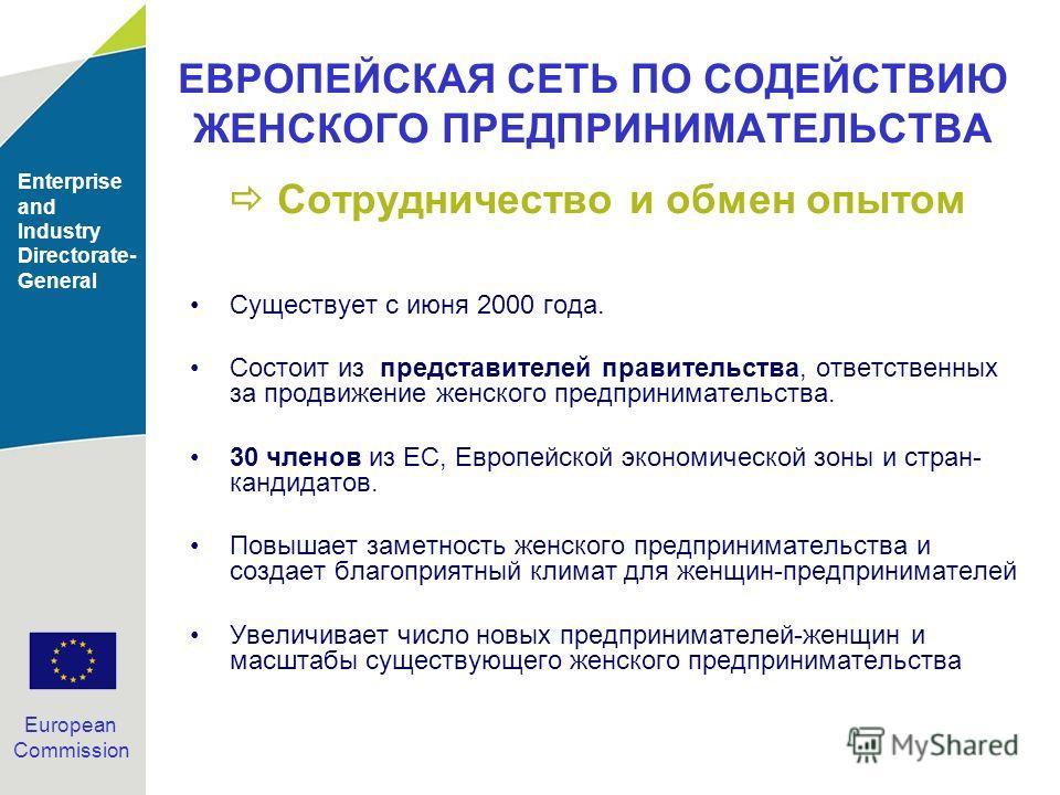 Enterprise and Industry Directorate- General European Commission ЕВРОПЕЙСКАЯ СЕТЬ ПО СОДЕЙСТВИЮ ЖЕНСКОГО ПРЕДПРИНИМАТЕЛЬСТВА Сотрудничество и обмен опытом Существует с июня 2000 года. Состоит из представителей правительства, ответственных за продвиже