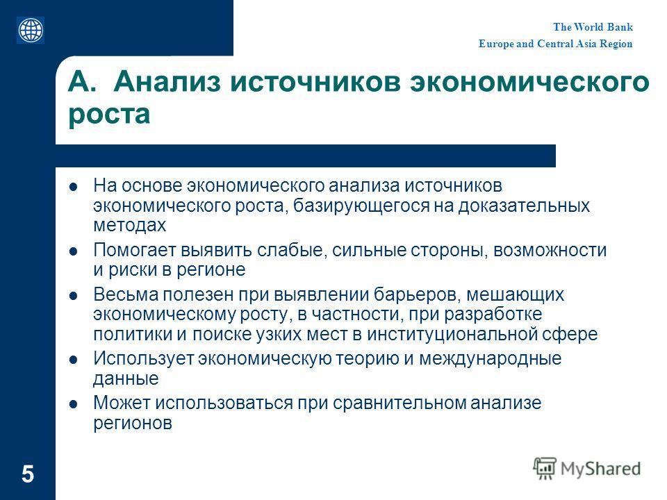 The World Bank Europe and Central Asia Region 5 A. Анализ источников экономического роста На основе экономического анализа источников экономического роста, базирующегося на доказательных методах Помогает выявить слабые, сильные стороны, возможности и
