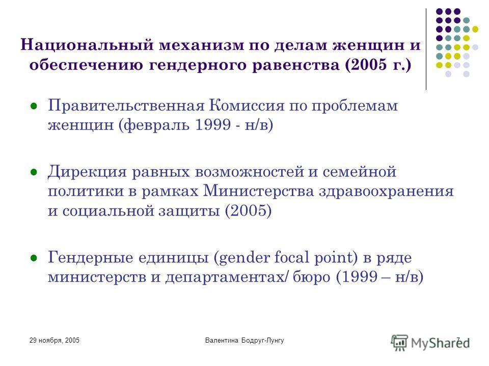 29 ноября, 2005Валентина Бодруг-Лунгу7 Национальный механизм по делам женщин и обеспечению гендерного равенства (2005 г.) Правительственная Комиссия по проблемам женщин (февраль 1999 - н/в) Дирекция равных возможностей и семейной политики в рамках Ми