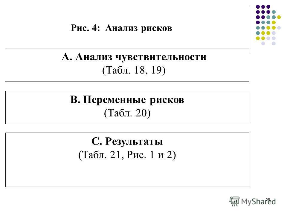 24 Рис. 3: Дистрибутивный анализ A. Экономический поток чистых ресурсов (Табл. 14) B. Финансовый поток чистых ресурсов (Табл. 8) C. Чистый ресурсный поток внешних факторов (Табл. 15) D. Дистрибуция внешних факторов (приведенная стоимость) (Табл. 16)