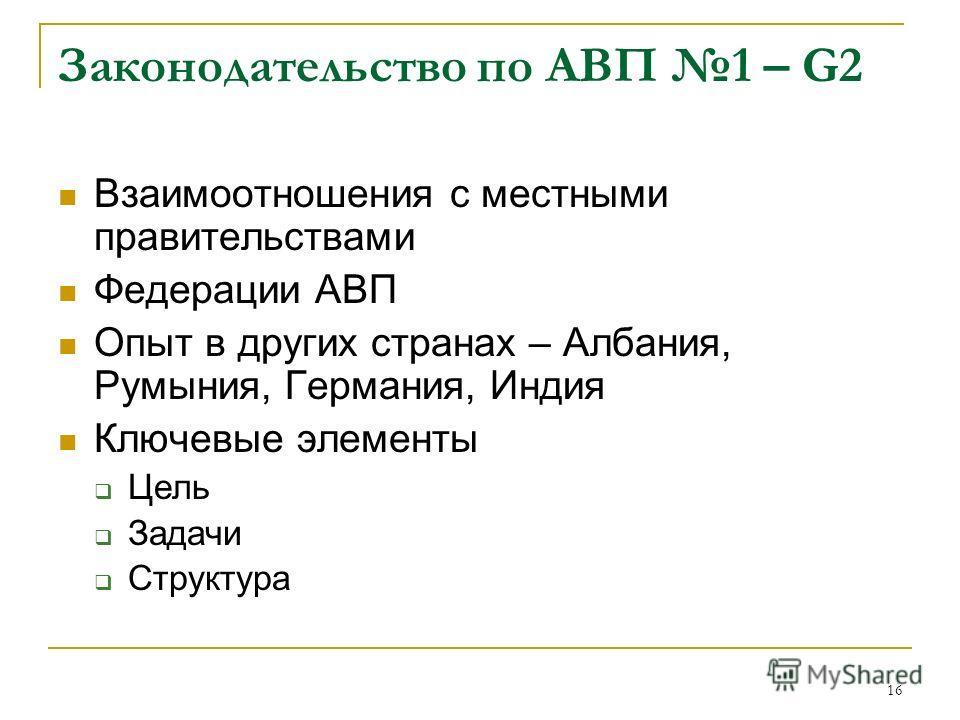 16 Законодательство по АВП 1 – G2 Взаимоотношения с местными правительствами Федерации АВП Опыт в других странах – Албания, Румыния, Германия, Индия Ключевые элементы Цель Задачи Структура