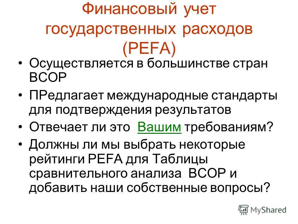 Финансовый учет государственных расходов (PEFA) Осуществляется в большинстве стран BCOP ПРедлагает международные стандарты для подтверждения результатов Отвечает ли это Вашим требованиям? Должны ли мы выбрать некоторые рейтинги PEFA для Таблицы сравн