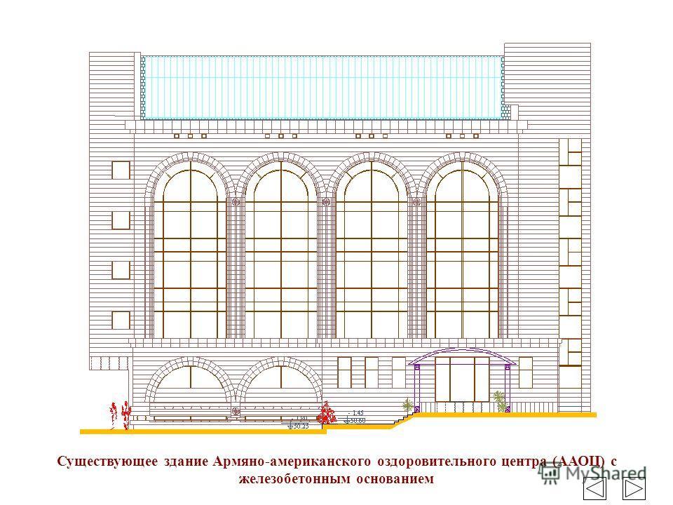 Существующее здание Армяно-американского оздоровительного центра (ААОЦ) с железобетонным основанием