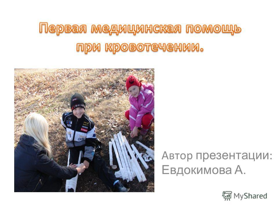 Автор презентации : Евдокимова А.