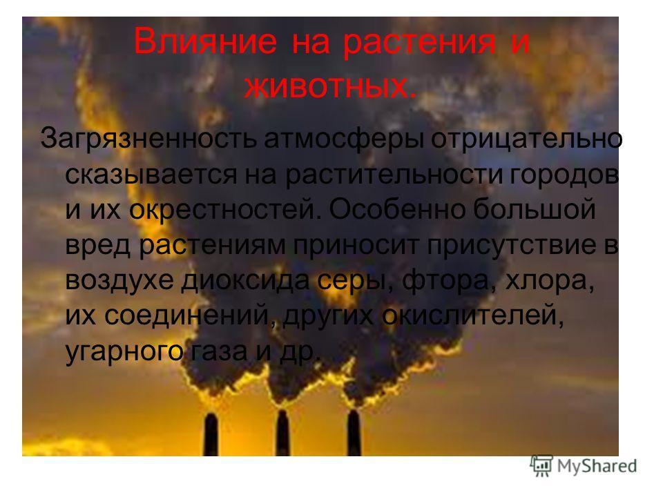 Влияние на растения и животных. Загрязненность атмосферы отрицательно сказывается на растительности городов и их окрестностей. Особенно большой вред растениям приносит присутствие в воздухе диоксида серы, фтора, хлора, их соединений, других окислител