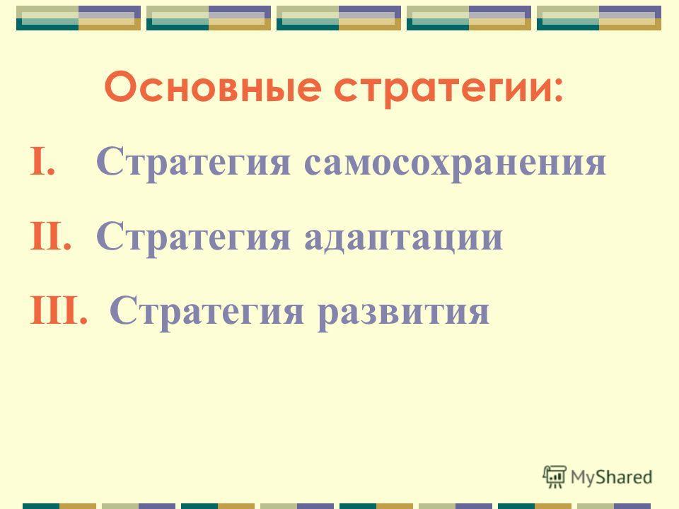 Основные стратегии: I. Стратегия самосохранения II. Стратегия адаптации III. Стратегия развития