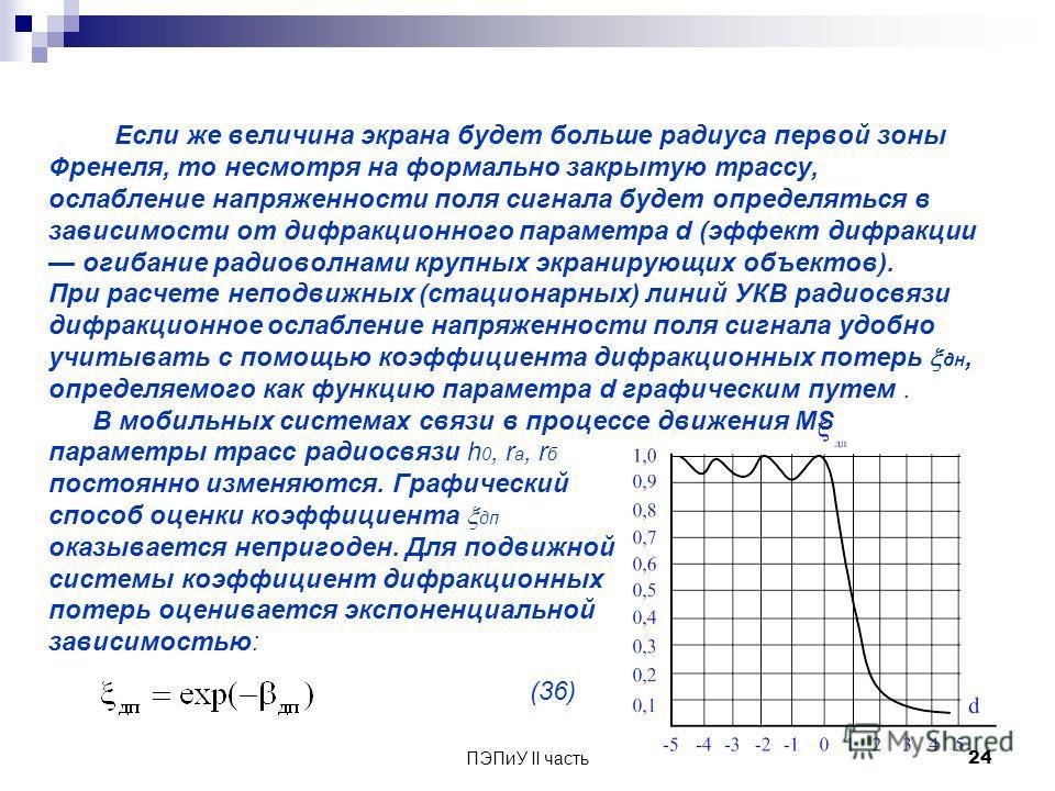 ПЭПиУ II часть 24 Если же величина экрана будет больше радиуса первой зоны Френеля, то несмотря на формально закрытую трассу, ослабление напряженности поля сигнала будет определяться в зависимости от дифракционного параметра d (эффект дифракции огиба