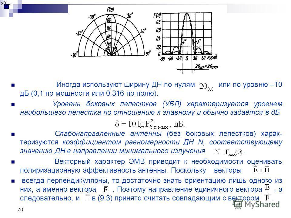 76 Иногда используют ширину ДН по нулям или по уровню –10 дБ (0,1 по мощности или 0,316 по полю). Уровень боковых лепестков (УБЛ) характеризуется уровнем наибольшего лепестка по отношению к главному и обычно задаётся в дБ Слабонаправленные антенны (б