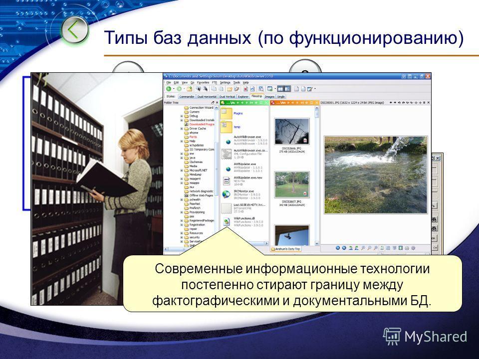 Типы баз данных (по функционированию) 2 Фактографические (картотеки) 1 Документальные (архивы) краткие сведения об объекте, представленные в строго определенном формате информация разного типа: текстовая, графическая, звуковая, мультимедийная Совреме